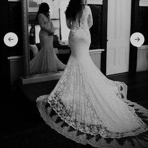 Olvi's Style #2495 lace long sleeve wedding dress
